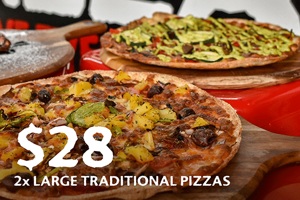 2x Large Traditional Pizzas for $28